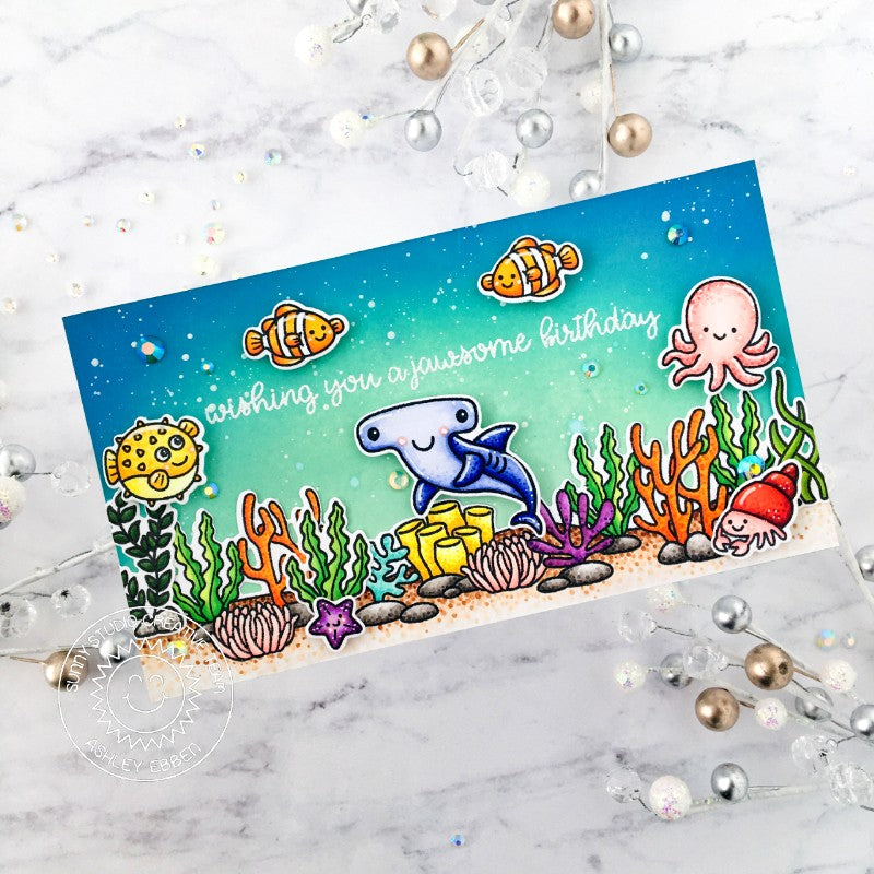 Sunny Studio Stamps Shark, Puffer, Clown Fish, Hermit Crab & Octopus Ocean Themed Handmade Punny Birthday Card with Coral Border (using Tropical Scenes 4x6 Clear Photopolymer Stamp Set)