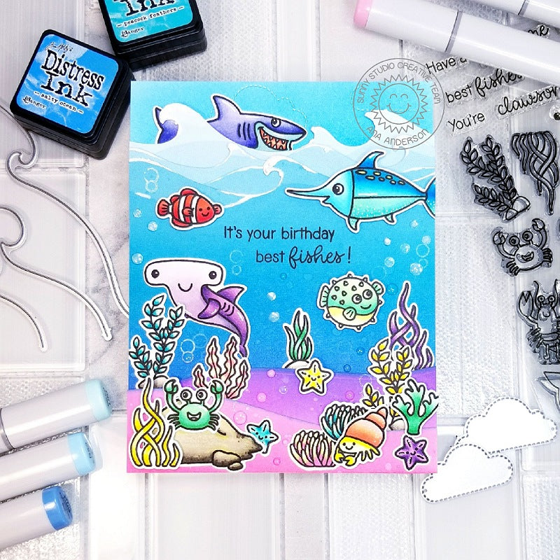 Sunny Studio Stamps Best Fishes On Your Birthday Lavender and Blue Ocean Themed Punny Card by Ana Anderson