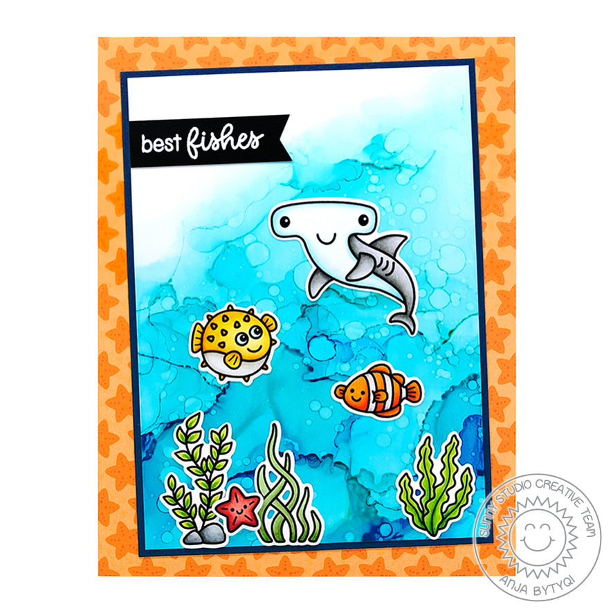 Sunny Studio Stamps Best Fishes Blowfish, Hammerhead Shark & Clownfish Ocean Card (featuring alcohol ink water background)