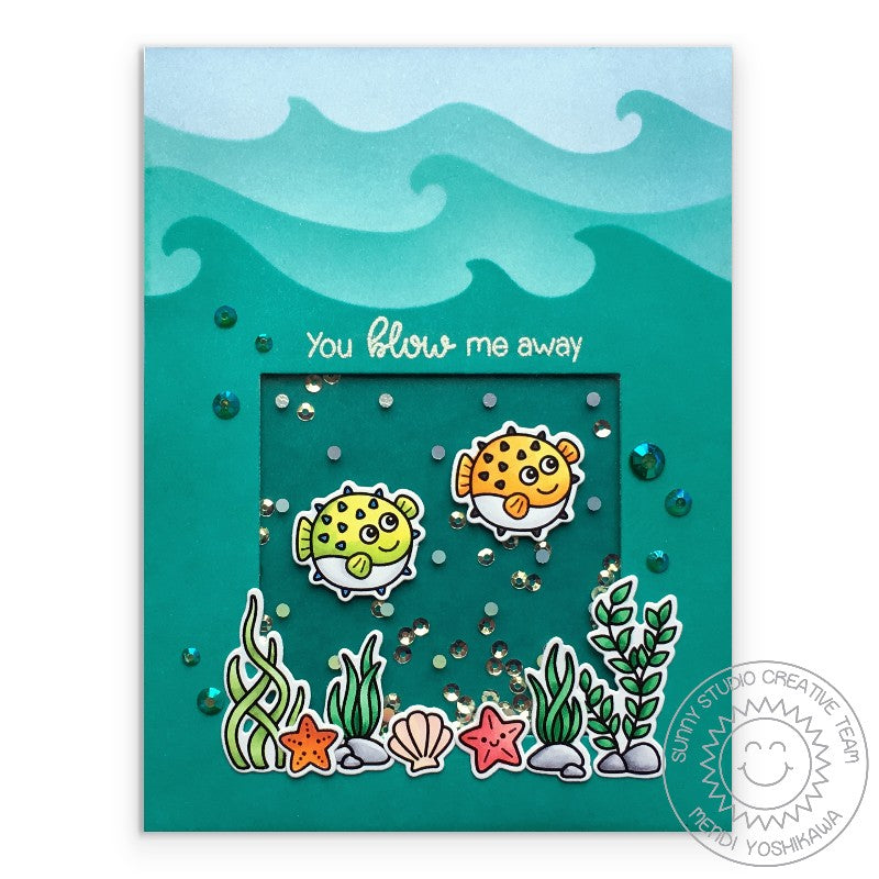 Sunny Studio Stamps Blowfish You Blow Me Away Shaker Card (using Catch A Wave Border Dies)