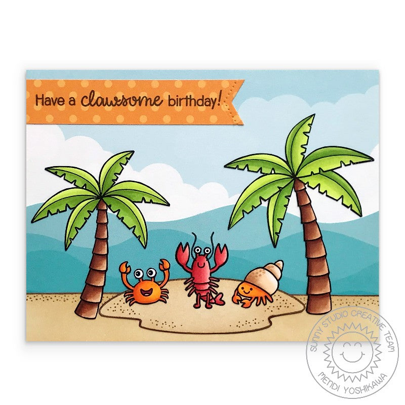 "Sunny Studio Stamps Lobster & Hermit Crab ""Clawsome"" Card (using Summer Splash 6x6 Clouds & Waves Patterned Paper)"