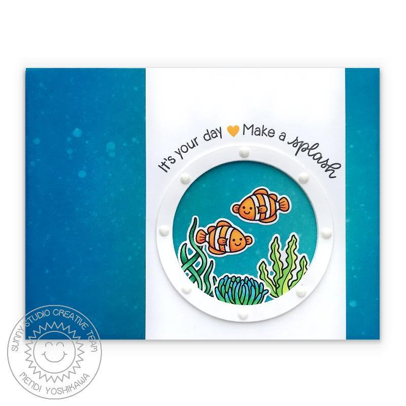 Sunny Studio Stamps Best Fishes It's Your Day, Make A Splash Clownfish Porthole Handmade Card