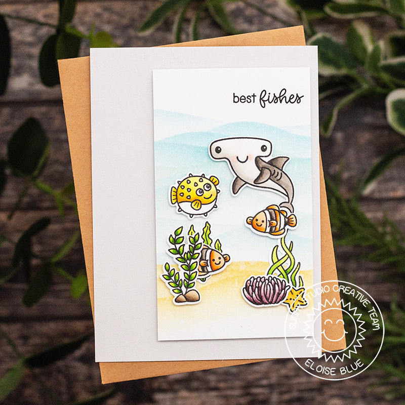 Sunny Studio Stamps Best Fishes Pastel Watercolor Ocean Themed Summer Card by Eloise Blue