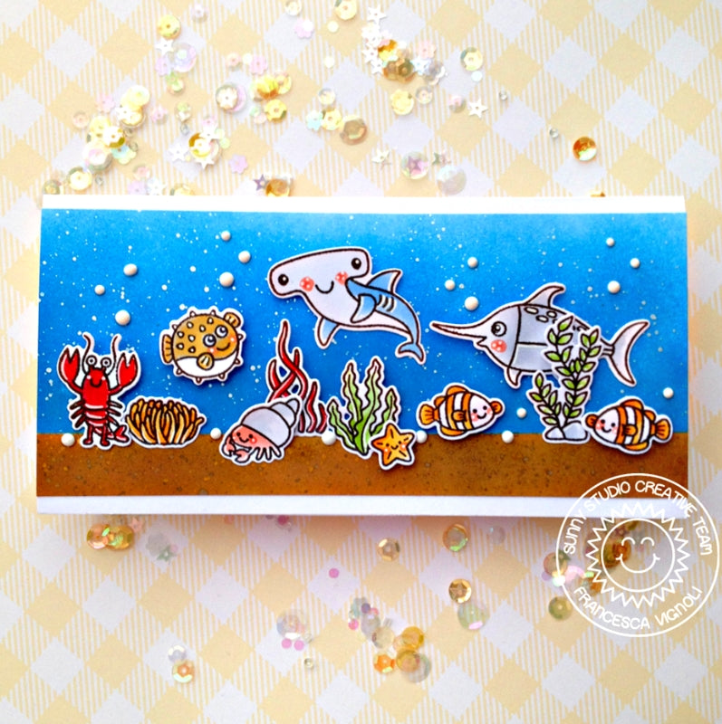 Sunny Studio Stamps Ocean Themed Hammerhead Shark & Sword Fish Elongated Card