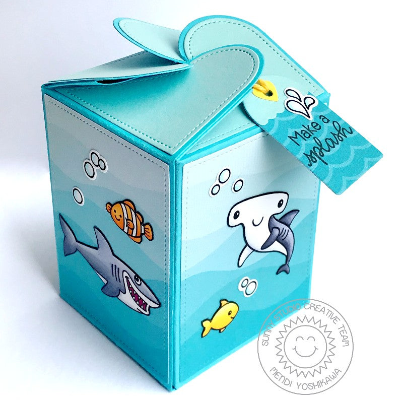 Sunny Studio Stamps Wrap Around Ocean Themed Gift Box (using Best Fishes Stamps)