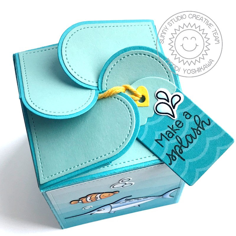 Sunny Studio Stamps Wrap Around Beach Themed Gift Box with Petal Closure