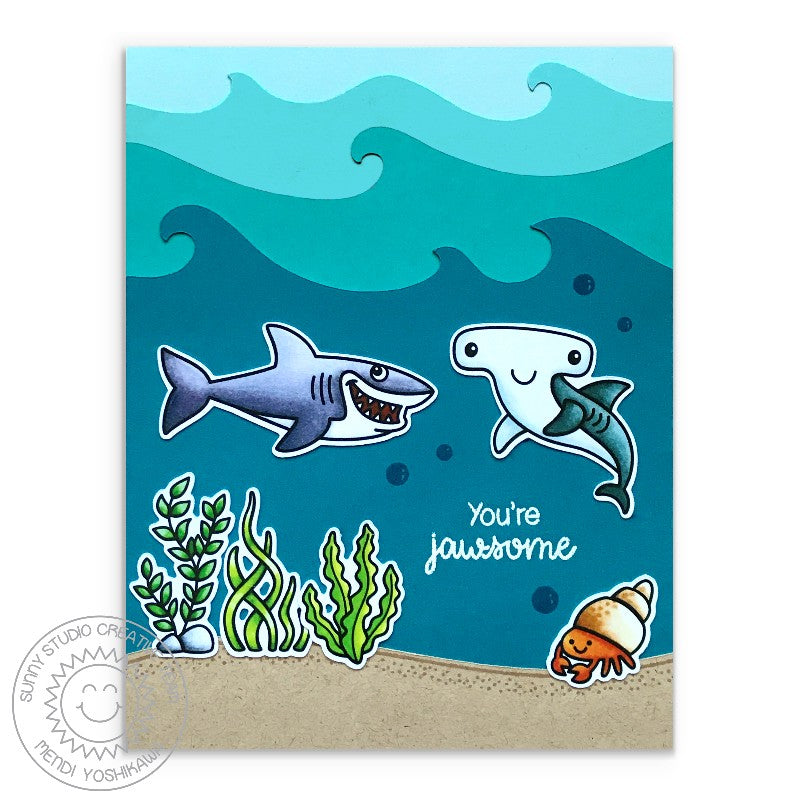 Sunny Studio Stamps Ocean Scene Shark Card (using Catch A Wave Border Dies)