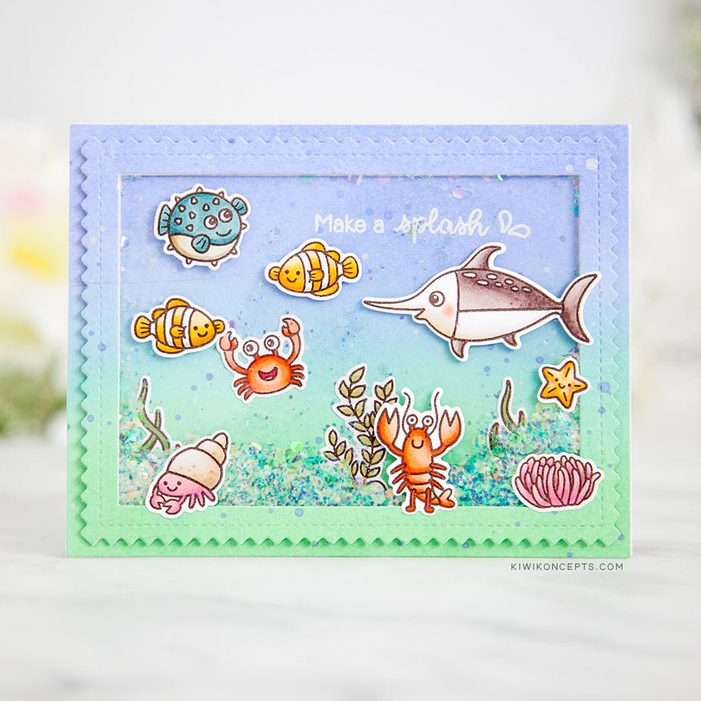 Sunny Studio Stamps Best Fishes Ocean Themed Shaker Card (using Frilly Frames Chevron Dies with ric rac edge)