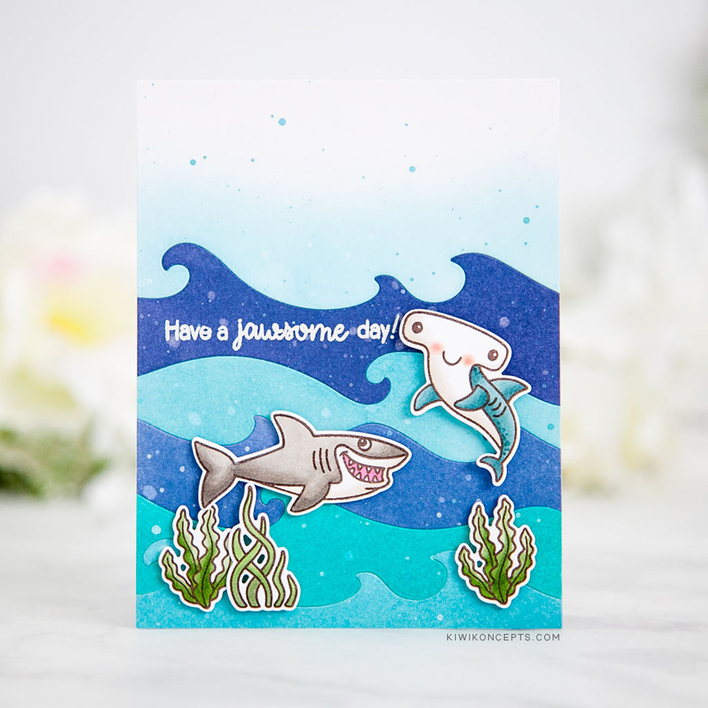 Sunny Studio Stamps Sharks Ocean Themed Jawsome Birthday Card (using Catch A Wave dies)