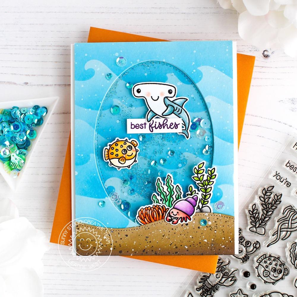 Sunny Studio Stamps Best Fishes Shark & Blow Fish Ocean Themed Shaker Card by Leanne West