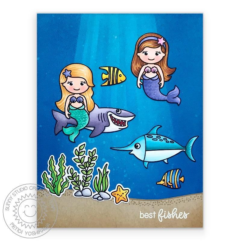 Sunny Studio Stamps Best Fishes Mermaids, Shark & Swordfish Card