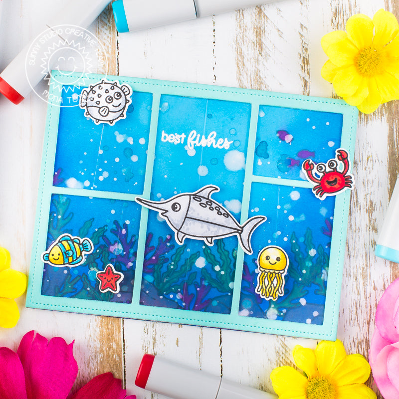 Sunny Studio Stamps Best Fishes Interactive Swaying Ocean Fish Card by Mona Toth (using invisible fishing line)
