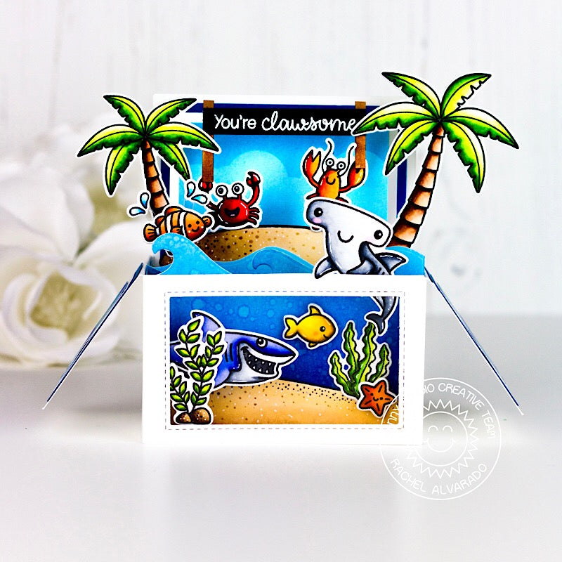 Sunny Studio Stamps Catch A Wave Pop-up Box Ocean Beach Themed Card