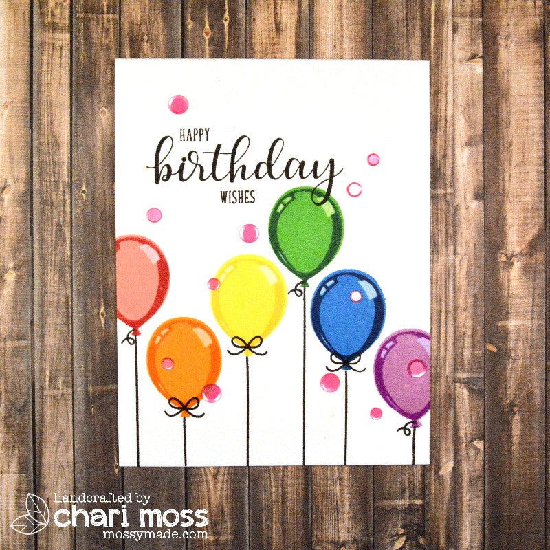 Sunny Studio Stamps Birthday Balloon Rainbow Card by Chari Moss