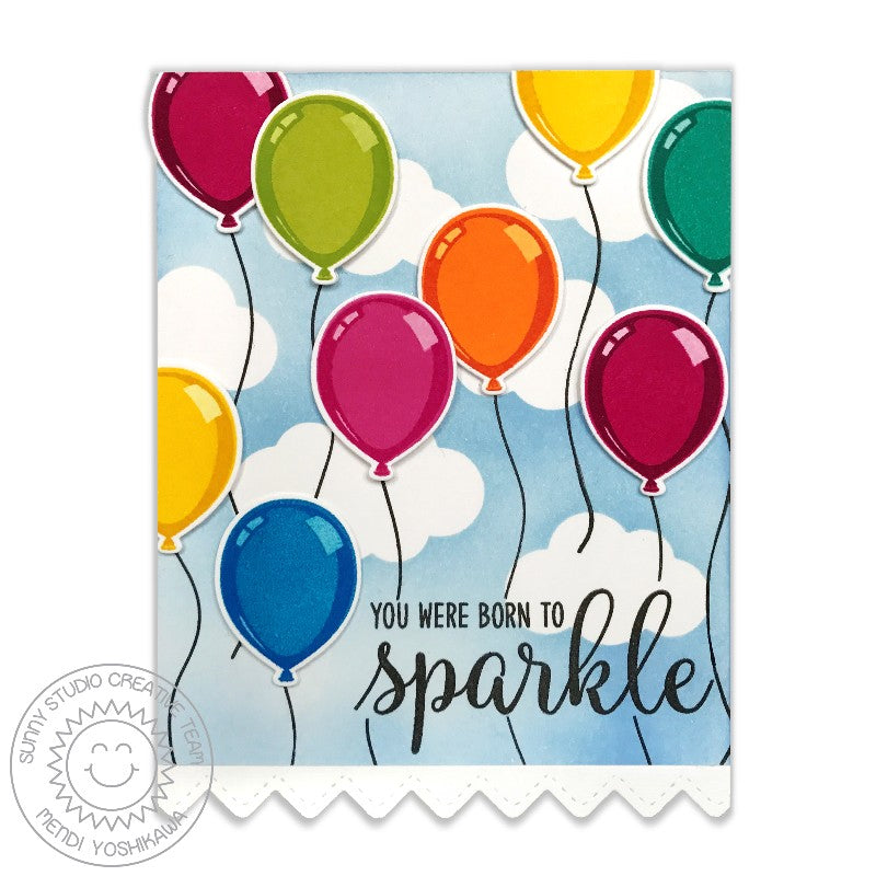 Birthday Balloons Images Part - 37: ... Sunny Studio Stamps: Birthday Balloon Rainbow Balloons With Cloudy Sky  Born To Sparkle Card By ...