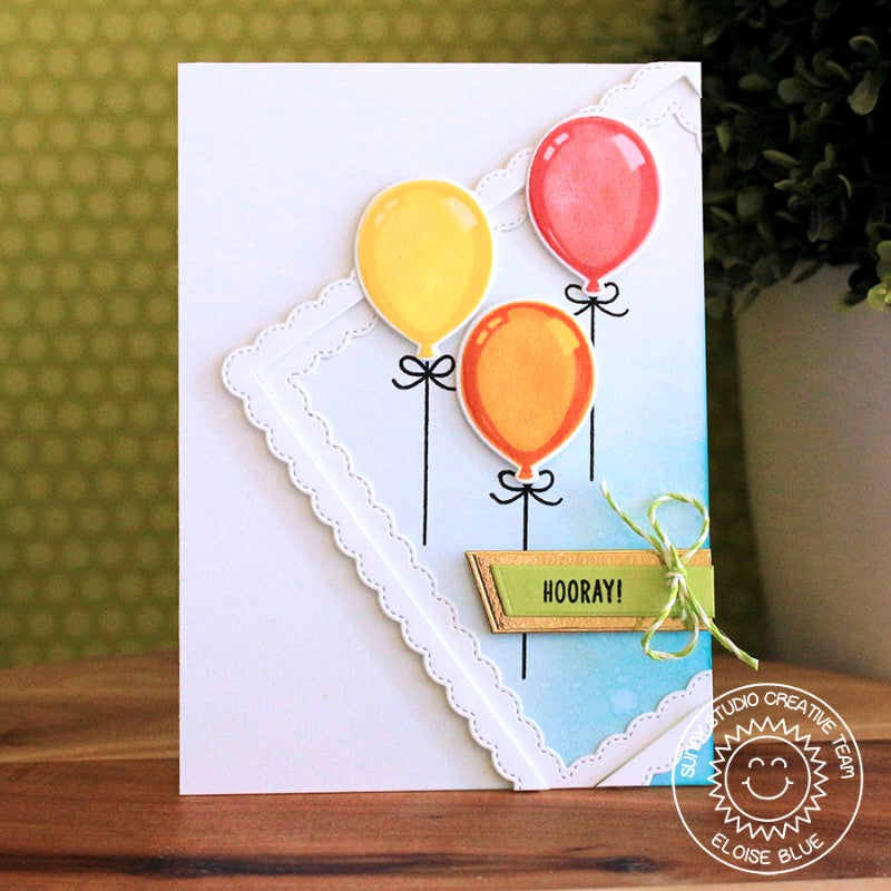 Sunny Studio Stamps Bold Balloon Diagonal Frame Card by Eloise Blue.