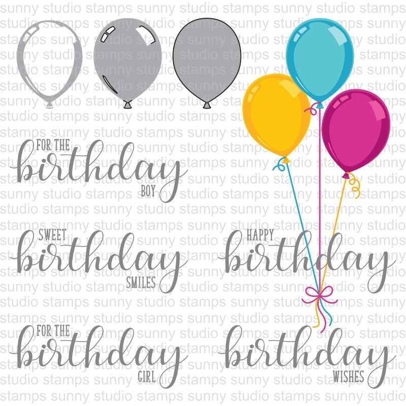 Sunny Studio Stamps Birthday Balloon Color Layering Stamping Guide