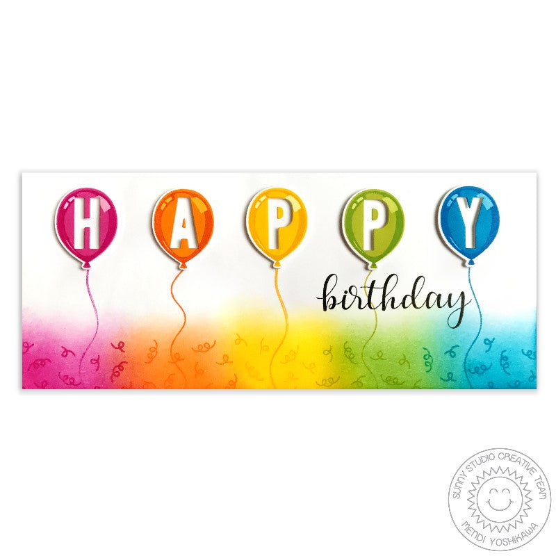 Sunny Studio Stamps: Birthday Balloon HAPPY Birthday Rainbow Confetti Card by Mendi Yoshikawa