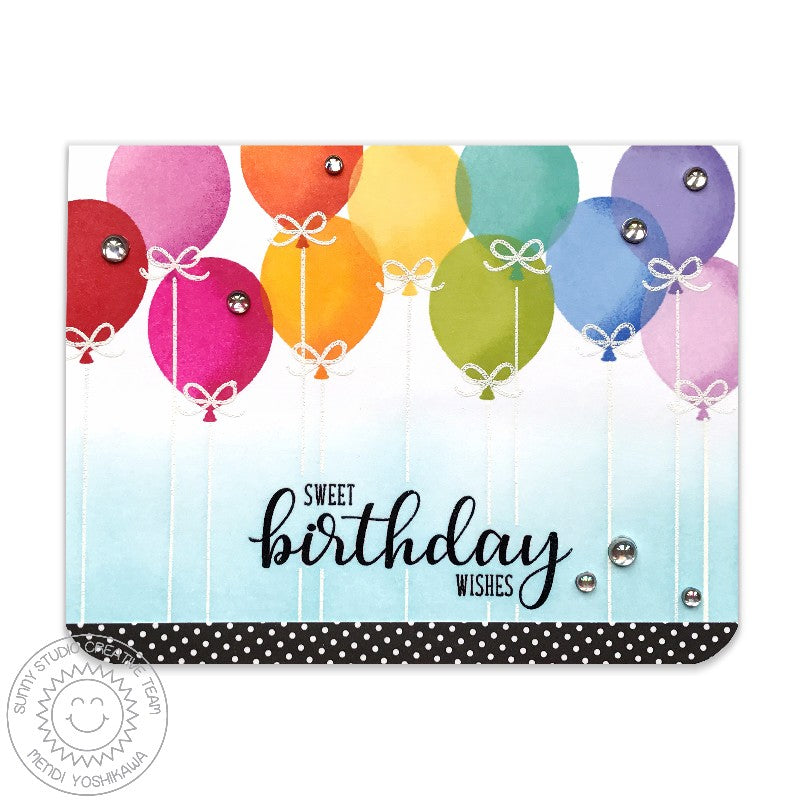 Sunny Studio Stamps: Birthday Balloon Rainbow Layered Card by Mendi Yoshikawa