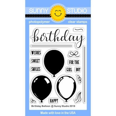 Sunny Studio Stamps Birthday Balloon 3x4 Layering Clear Photopolymer Stamp Set