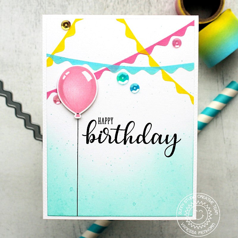 Sunny Studio Stamps Streamers Birthday Card using Ric Rac Border Dies