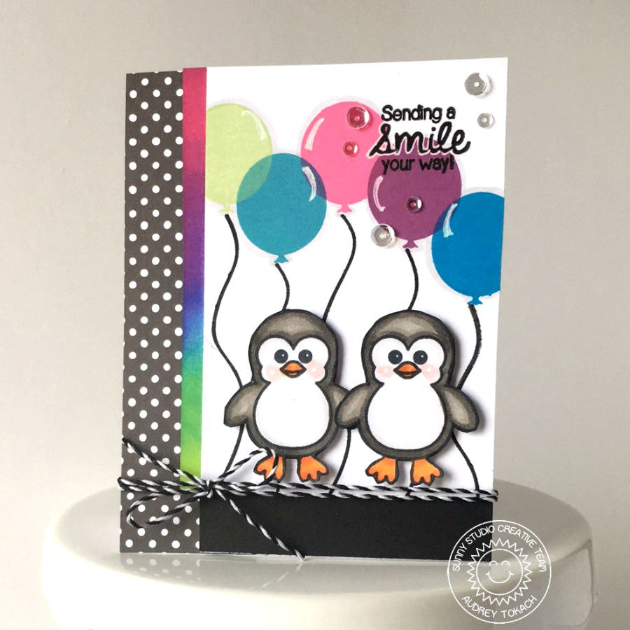 Sunny Studio Stamps Birthday Smiles Penguins and Balloons Card