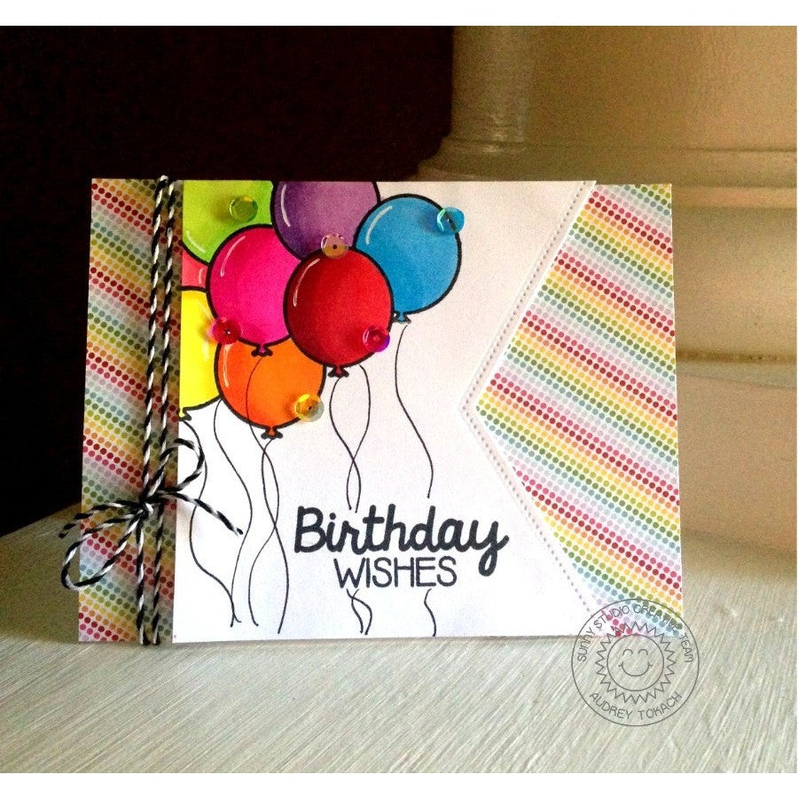 Sunny Studio Stamps Birthday Smiles Balloon Fishtail Banner Card