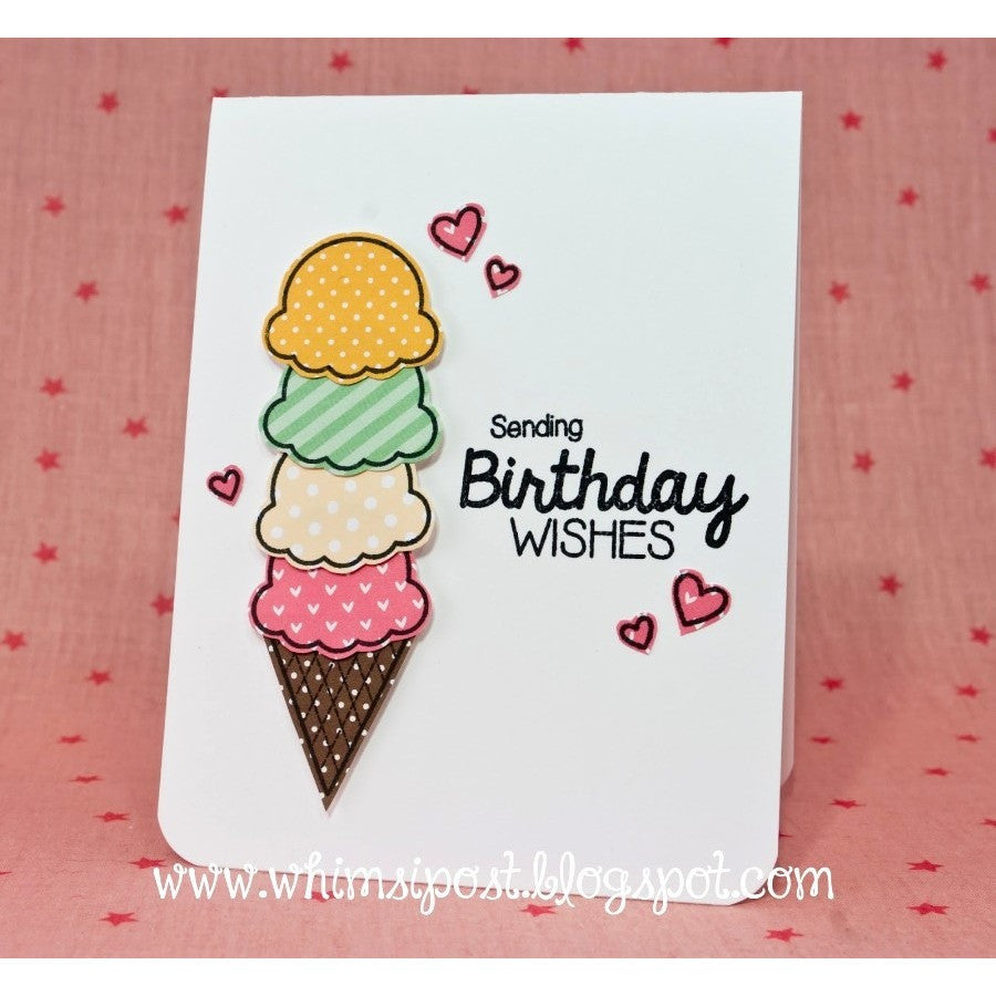 Sunny Studio Stamps Birthday Smiles Four Scoops Ice Cream Card
