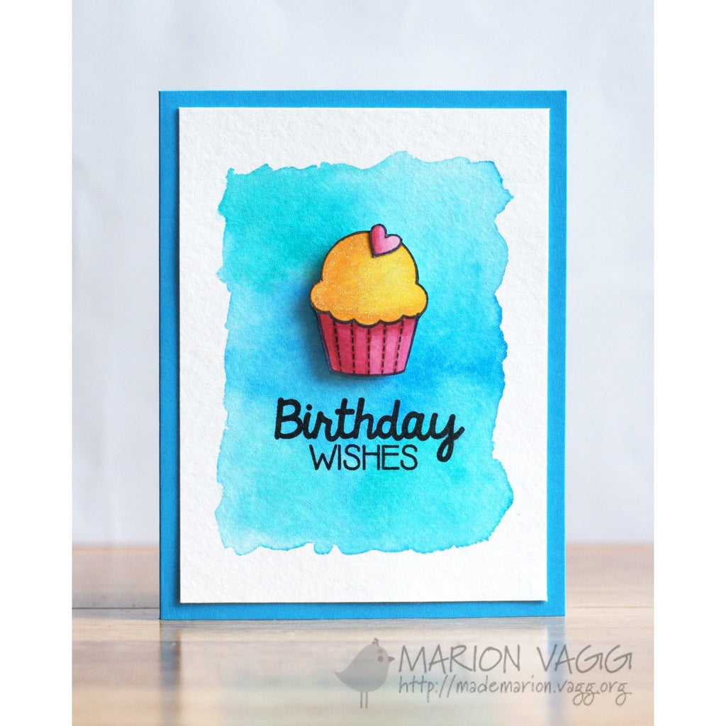Sunny Studio Stamps Birthday Smiles Watercolor Cupcake Card