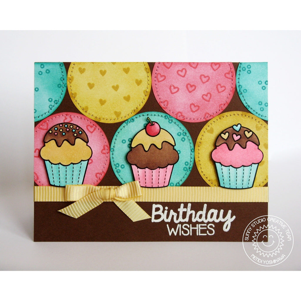 Sunny Studio Stamps Birthday Smiles Cupcake Trio Card