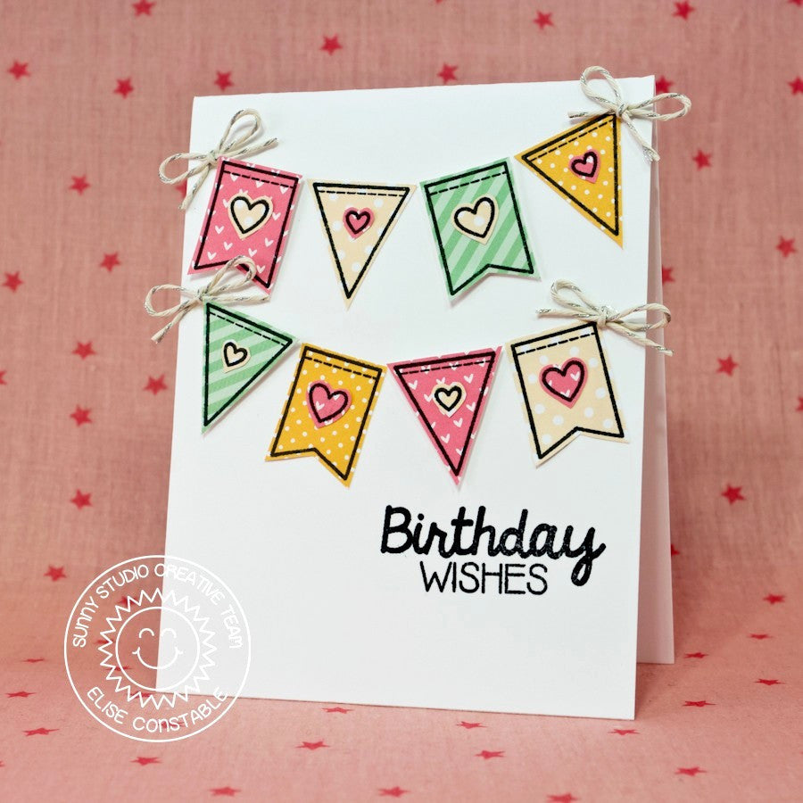 Sunny Studio Stamps Birthday Smiles Heart Banner Card