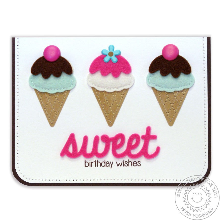 Sunny Studio Stamps Birthday Smiles Felt Ice Cream Sweet Card