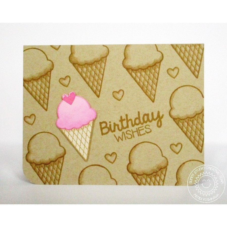 Sunny Studio Stamps Birthday Smiles Kraft Ice Cream Card