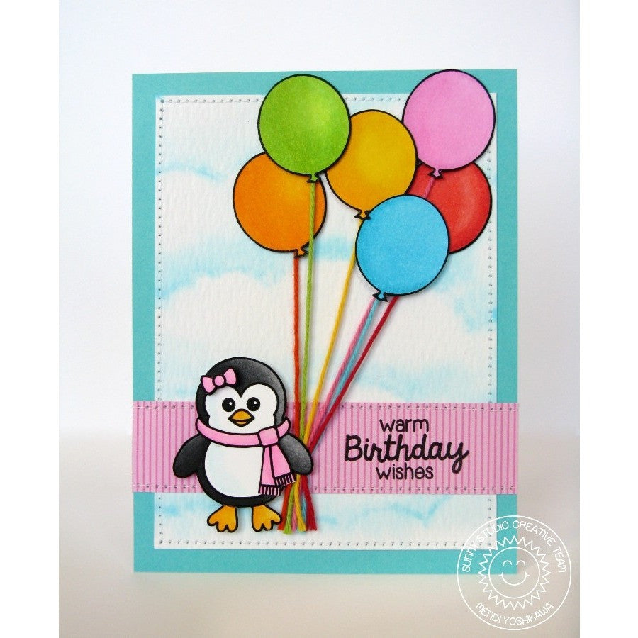 Sunny Studio Stamps Birthday Smiles Penguin with Balloons Card