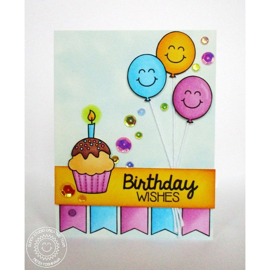 Sunny Studio Stamps Birthday Smiles Cupcake & Balloons Card