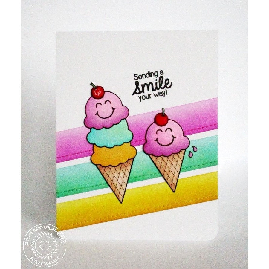 Sunny Studio Stamps Birthday Smiles Triple Scoop Ice Cream Cone Card