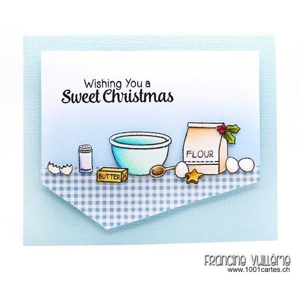 Sunny Studio Wishing You A Sweet Christmas Cookies Holiday Card (using Blissful Baking 4x6 Clear Stamps)