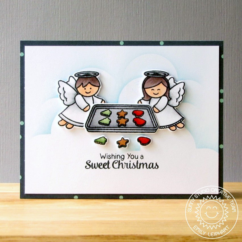 Sunny Studio Wishing You A Sweet Christmas Holiday Angels Making Cookies Card (using Blissful Baking 4x6 Clear Stamps)