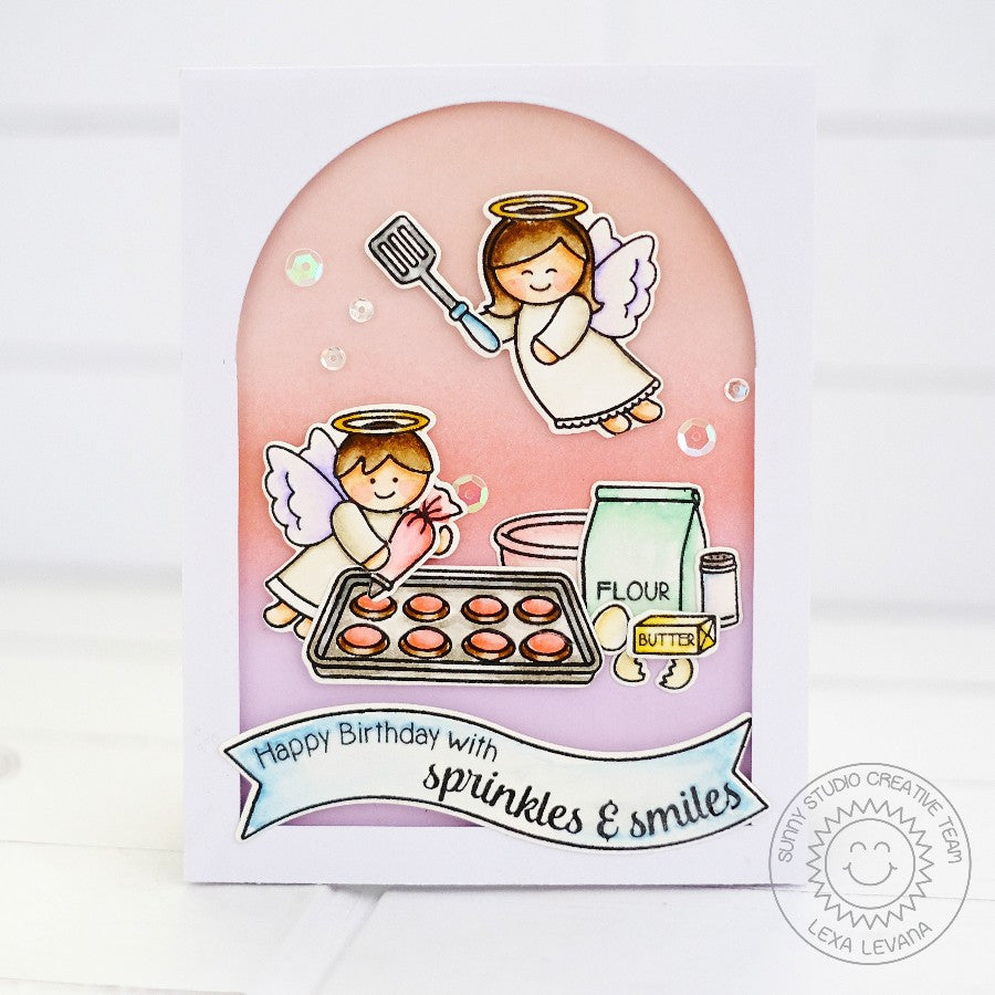 Sunny Studio Stamps Blissful Baking Sprinkles of Fun Angels & Cookies Card