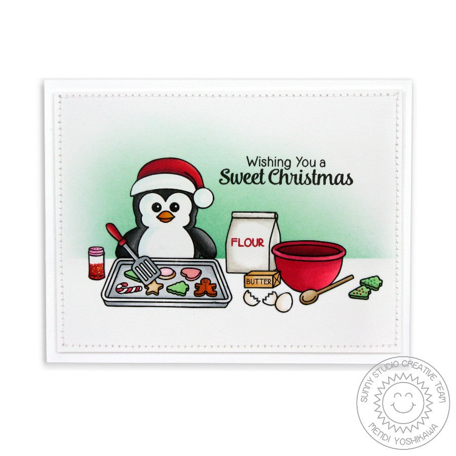 Sunny Studio Stamps Bundled Up Baking Penguin Card