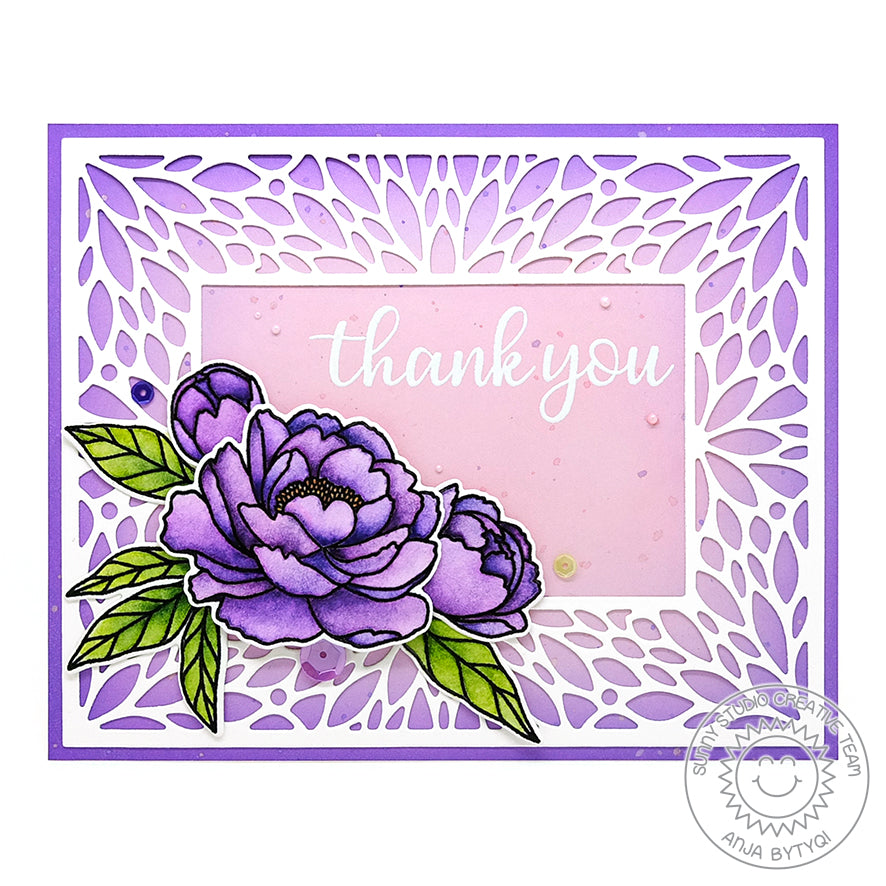 Sunny Studio Stamps Purple Peony Floral Thank You Card Handmade Card (using Blooming Frame Petal Background Backdrop Mat Metal Cutting Dies)