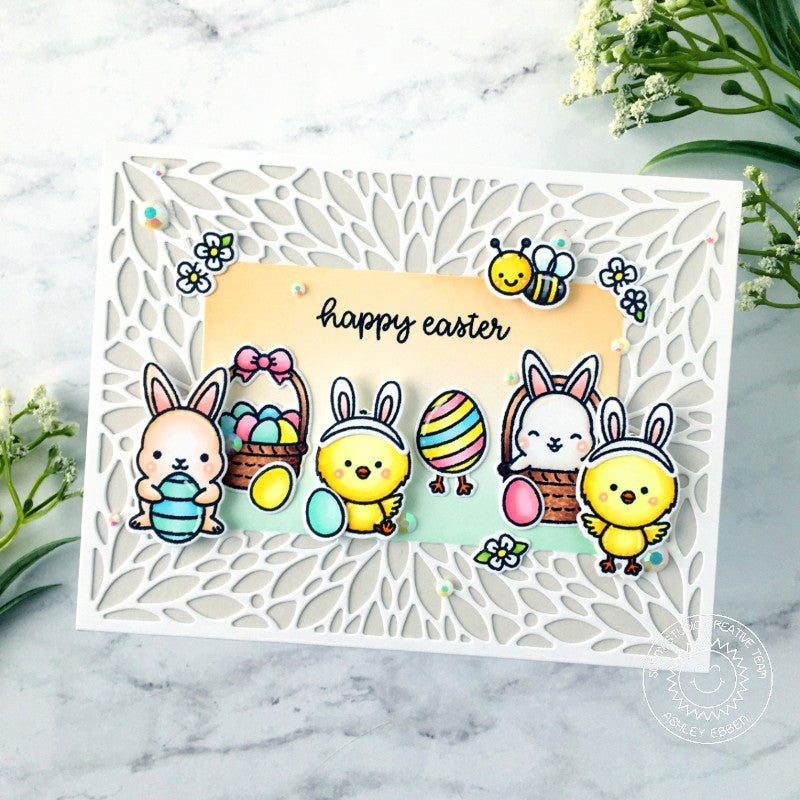 Sunny Studio Stamps Happy Easter Chick, Bunny & Bumblebee Handmade Card (using Blooming Frame Petal Background Backdrop Metal Cutting Dies)