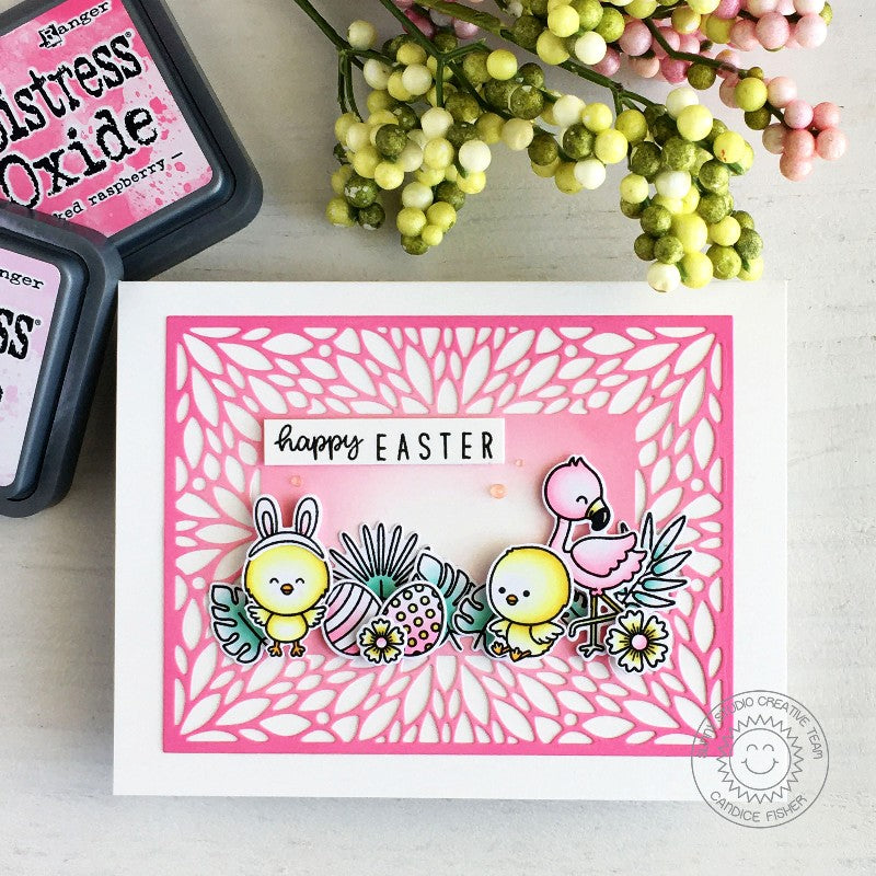 Sunny Studio Stamps Happy Easter Chicks with Flamingos Tropical Handmade Card (using Kinsley Alphabet & Numbers 3x4 Hand print Clear Photopolymer Stamp Set)