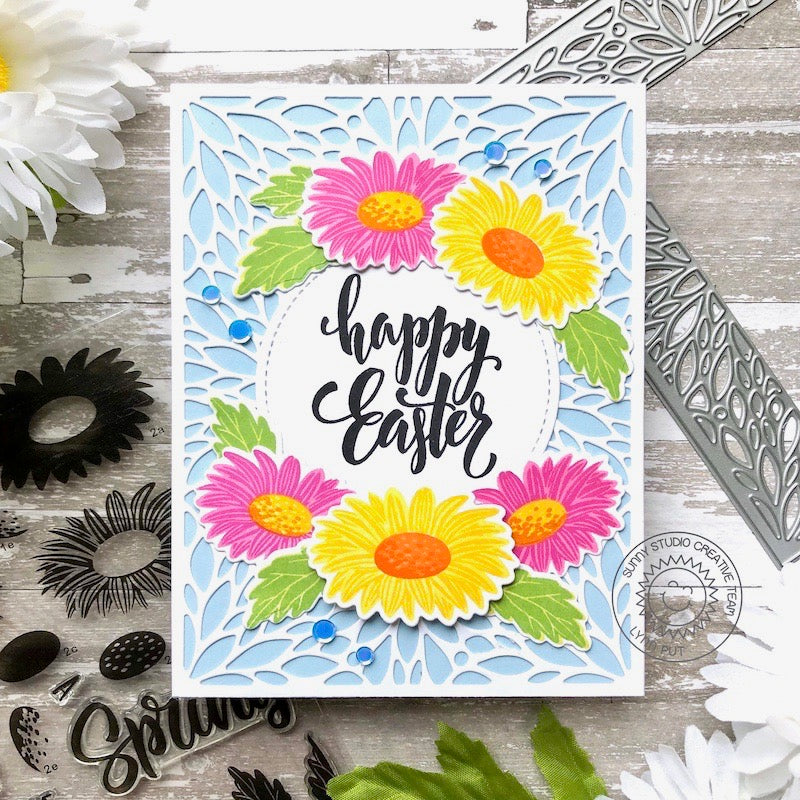 Sunny Studio Stamps Happy Easter Daisy Spring Handmade Card (using A2 Blooming Frame Background Backdrop Cutting Dies)