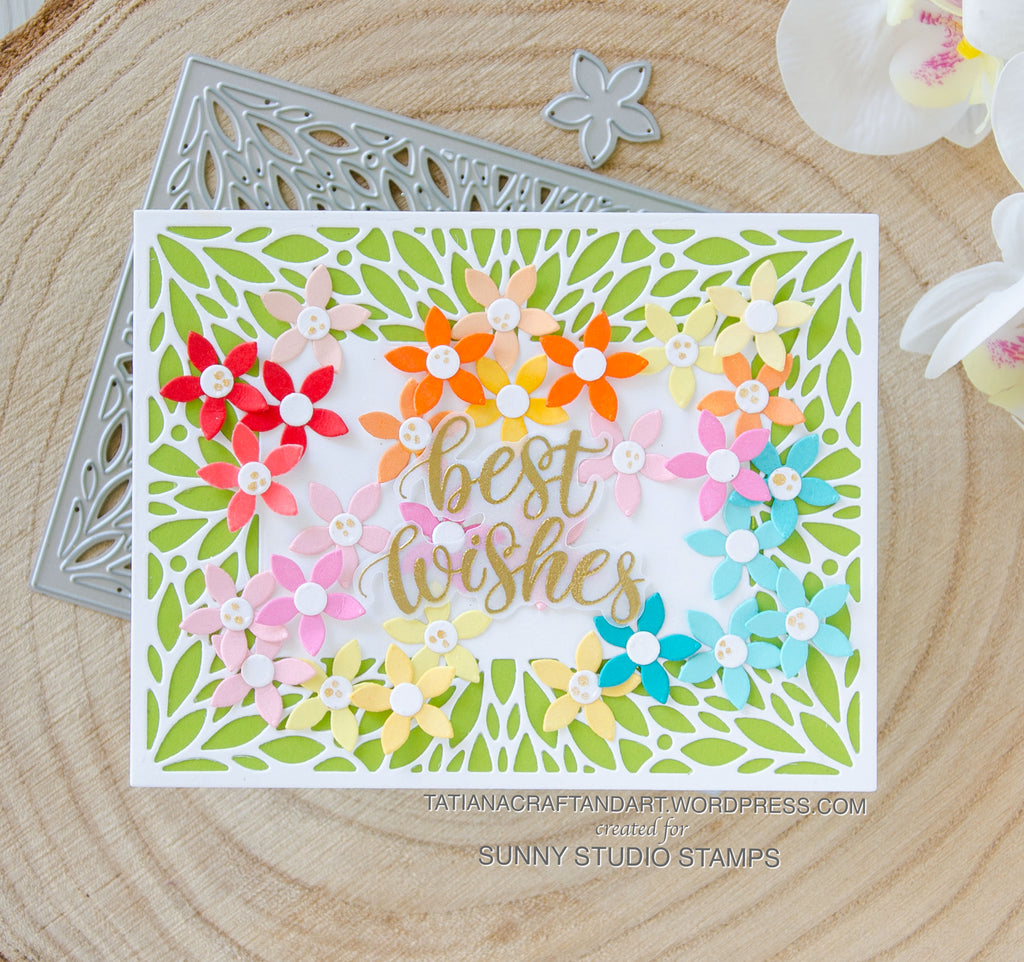 Sunny Studio Stamps Best Wishes Floral Handmade Card (using Blooming Frame Petal Background Metal Cutting Dies)