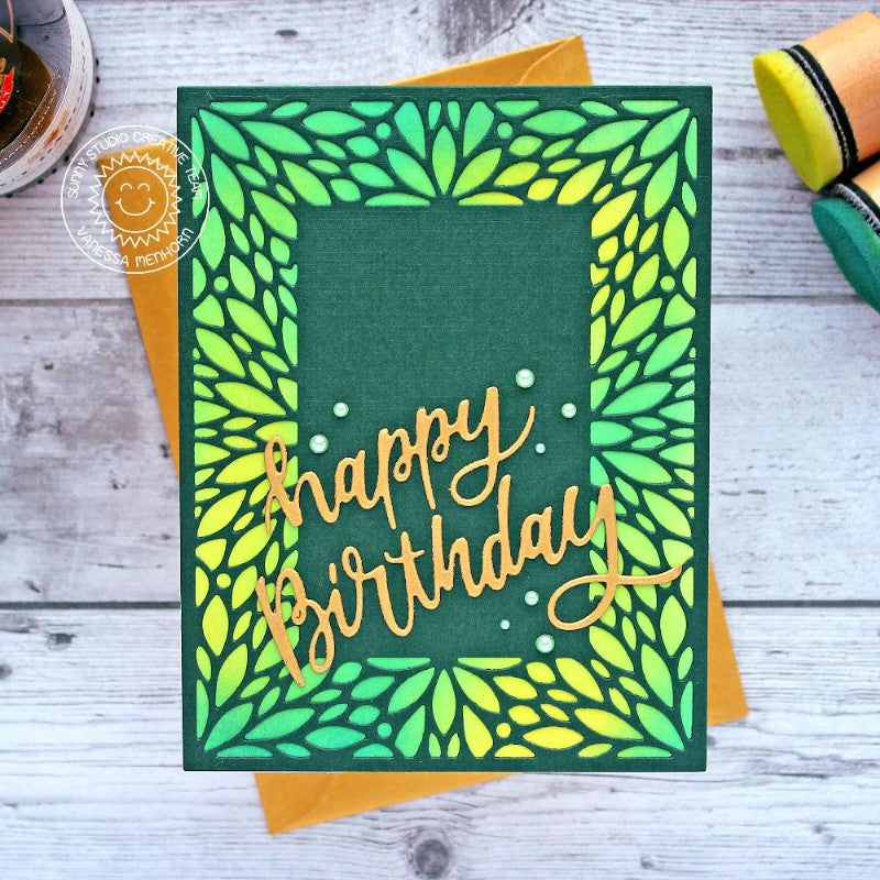 Sunny Studio Stamps Green & Yellow Happy Birthday Card Handmade Card (using Blooming Frame Petal Background Backdrop Mat Metal Cutting Dies)
