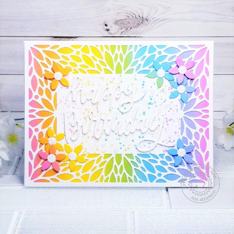 Sunny Studio Stamps Rainbow Birthday Card (using Blooming Frame Petal Background Backdrop Cover Plate Cutting Die)