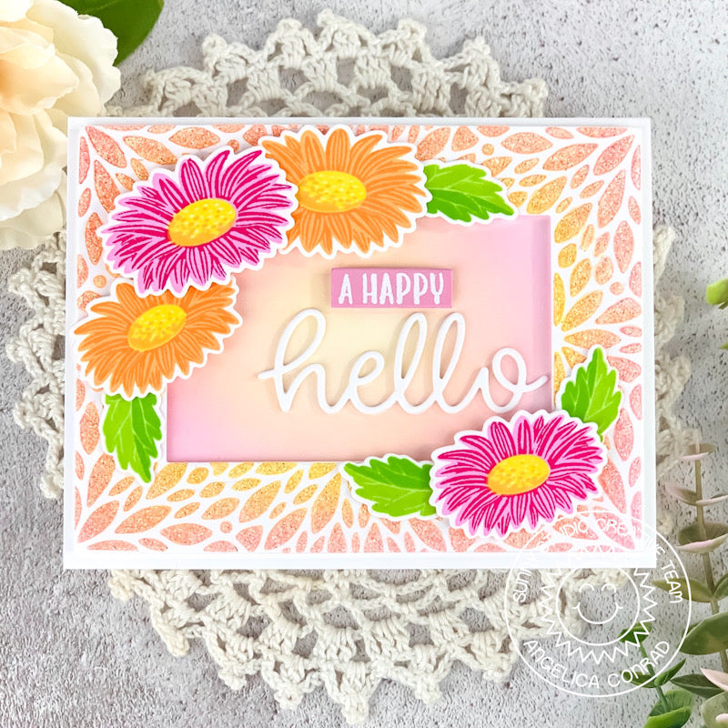 Sunny Studio Stamps A Happy Hello Daisy Spring Card (using Blooming Frame Background Backdrop Cutting Dies)