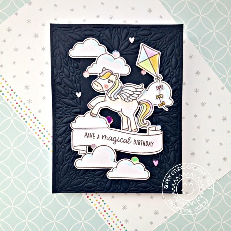 Sunny Studio Stamps Magical Birthday Pegasus Card (using Blooming Frame Petal Background Backdrop Cover Plate Cutting Die)