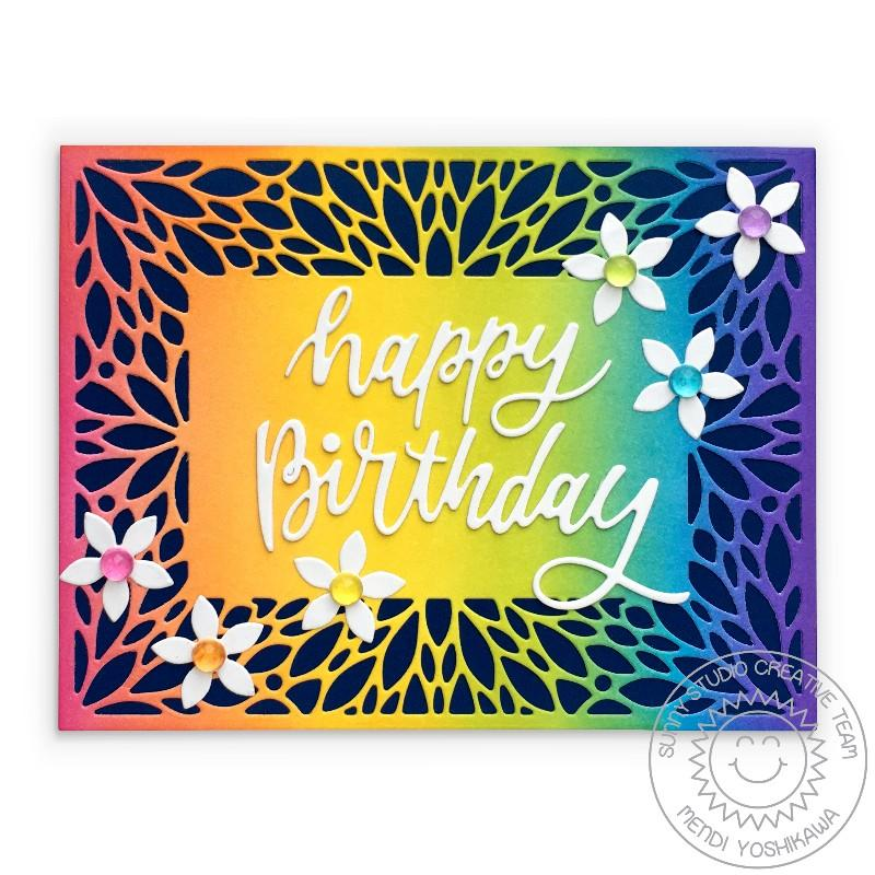 Sunny Studio Stamps Rainbow Floral Petal Daisy Birthday Card (using Blooming Frames Background Cover Plate Metal Cutting Dies)
